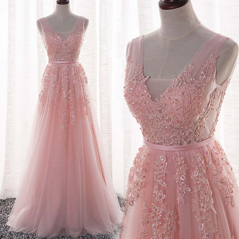 62dab7d125 Elegant Tulle Handmade Pink V-neckline A-line Prom Dress with Lace  Appliques
