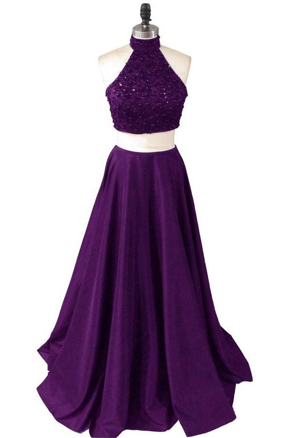 Dark Purple Two Piece Halter Satin Prom Dresses, Two Piece ...