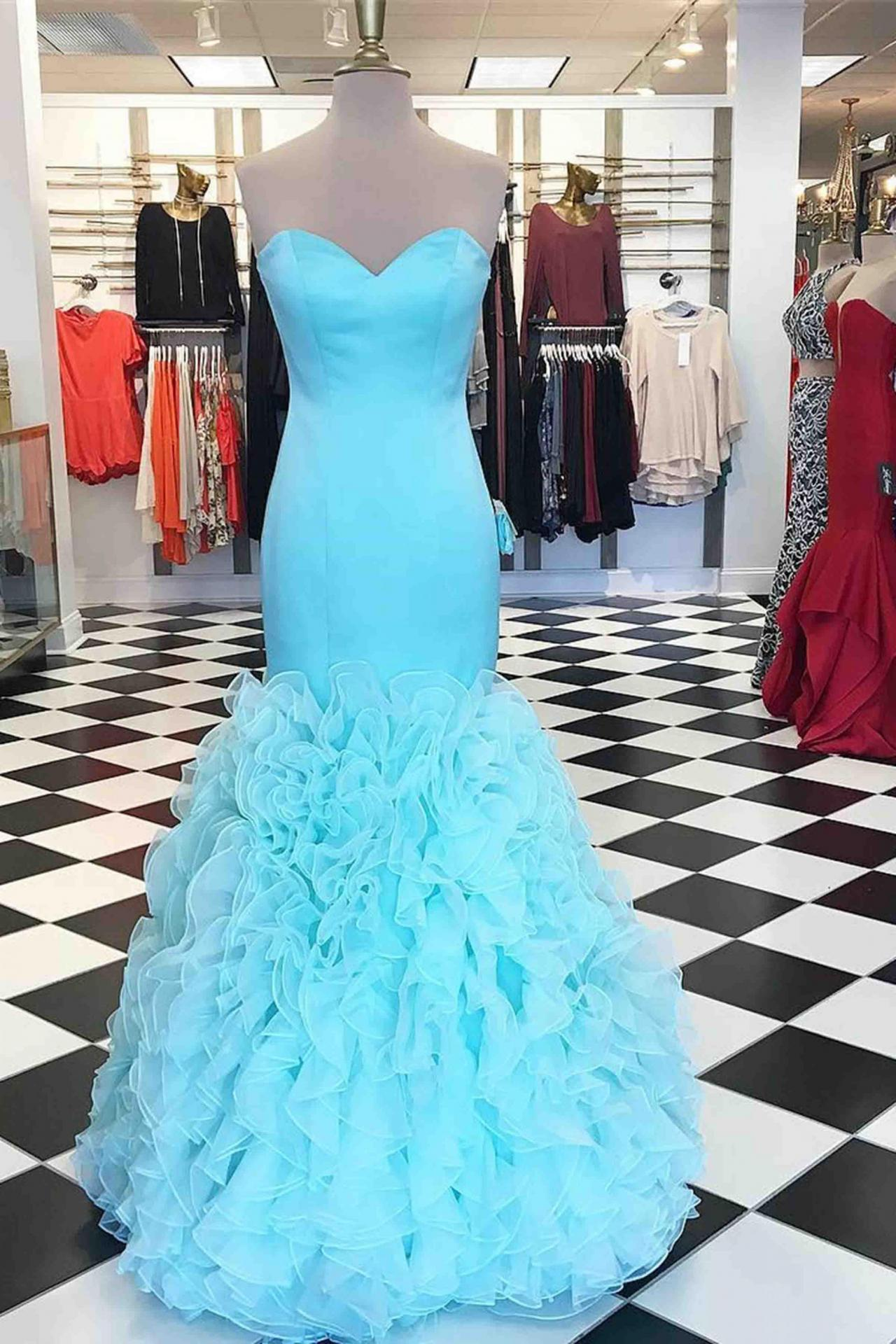 prom dress,Sexy Prom Dress,Baby blue organza sweetheart mermaid long evening dress,cute strapless dress for teens