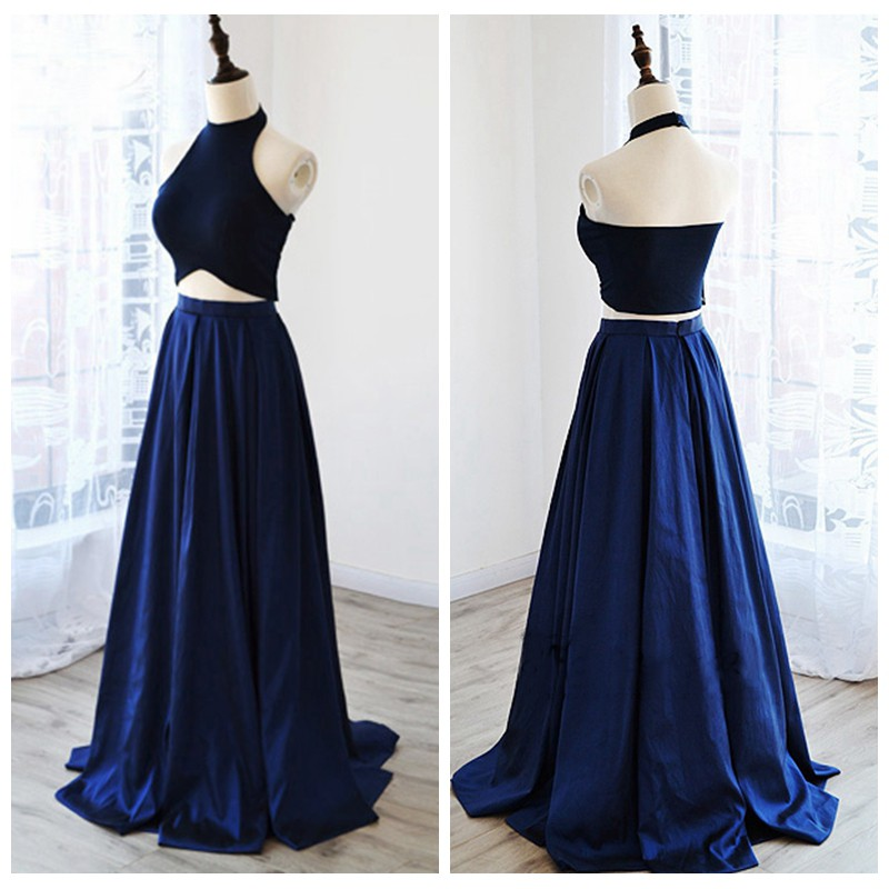 Navy Blue Satin Two Piece Prom Dress Featuring Halter Crop Top And