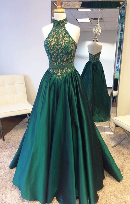 Prom Dresses Green Cute Party Lace Evening