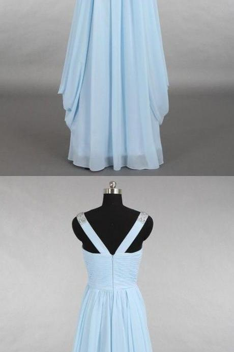 bridesmaid dresses, soft blue party dresses, simple prom dresses cheap v-neck prom dresses