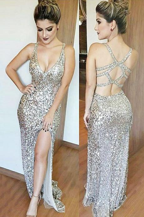 cheap party dresses with sliver sequined, sparle evening gowns, fancy prom dresses