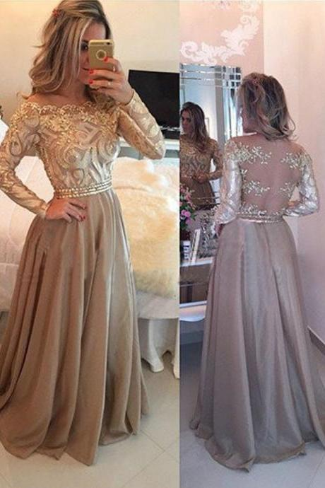 Hot Selling Luxurious Cowl Gold Long Sleeves Prom Dress