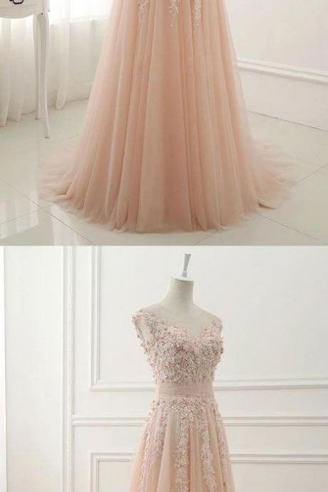 PINK ROUND NECK LACE APPLIQUE TULLE LONG PROM DRESS, TULLE EVENING DRESS M00031