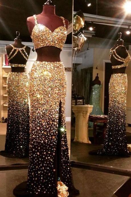 Dazzling Luxury Gold Crystal Rhinestone 2 Piece Prom Dresses Real Images Backless High Front Split Sexy Black Prom Dress M000116