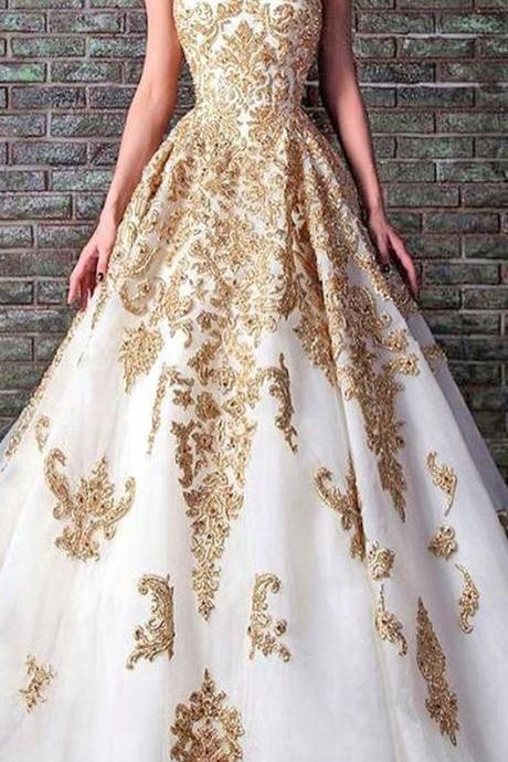 White and gold lace ball gown,A-line sweetheart long prom dress,evening dress M000119