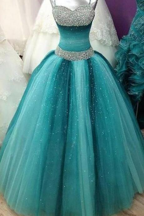 Spaghetti Straps Long Ball Gown Prom Dresses,Beading Sequin Shiny Prom Gowns,Quinceanera Dresses,Modest Prom Dress FOr Teens M000128