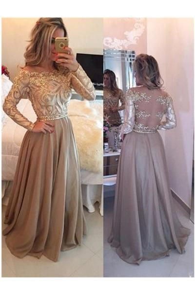 A-Line Cowl Gold Long Prom Dresses,Long Sleeves Evening Dress,M000135