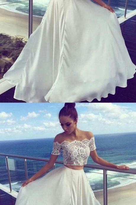 Two Pieces Off The Shoulder Prom Dresses,Long Prom Dresses,Cheap Prom Dresses, Evening Dress Prom Gowns, Formal Women Dress,Prom Dress,,M000140
