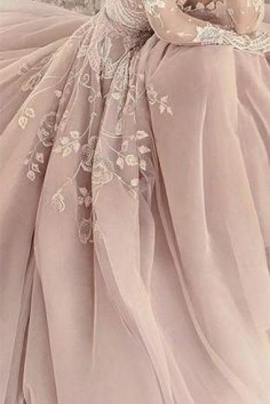 Elegant A-Line pink long sleeve Sparkly Long Prom Dress Evening Dress M0312