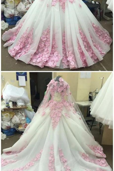 New Arrival Prom Dress,Modest Prom Dress,Flower wedding dress,pink wedding dress,ball gown wedding dress,wedding dress M0333