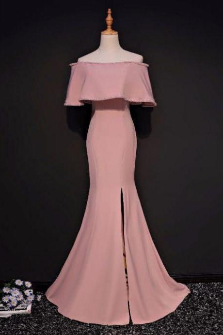 SIMPLE TRUMPET/MERMAID OFF-THE-SHOULDER FLOOR LENGTH PINK SATIN PROM DRESS EVENING DRESS M0384