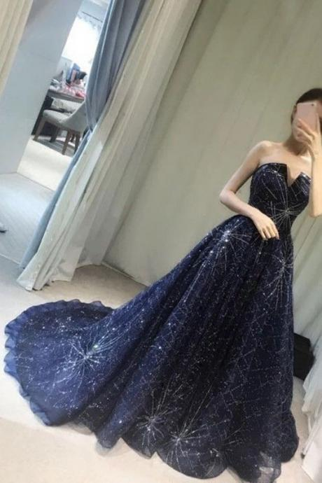 Unique V-neck Prom Gown,Strapless Navy Blue Sparkly Evening Dress,Sexy Prom Gowns M0476