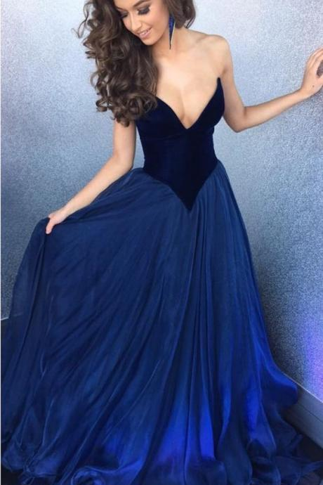 Sexy Strapless Bodice Corset Long Organza Navy Blue Prom Dresses Ball Gowns M0555