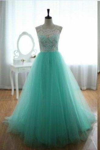 Long Charming Elegant White Lace Mint Tulle Prom Dresses For Teens M0574