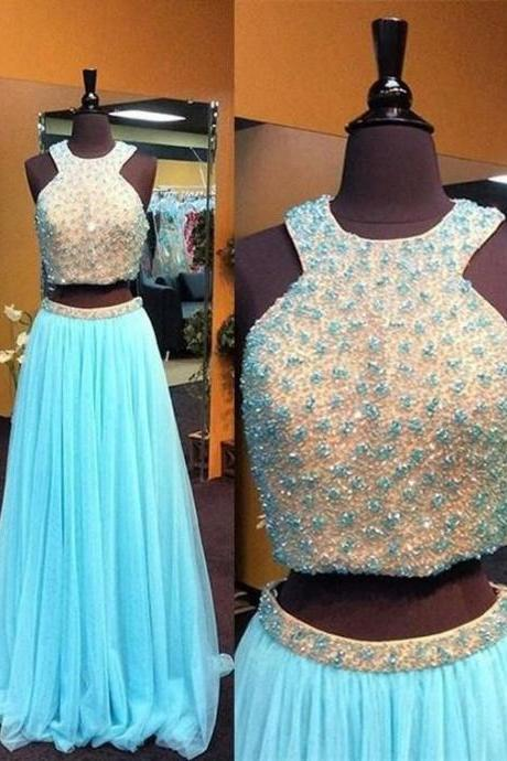 blue Prom Dress,long Prom Dress,two pieces Prom Dress,beaded Prom Dress,charming evening Dress, M0600