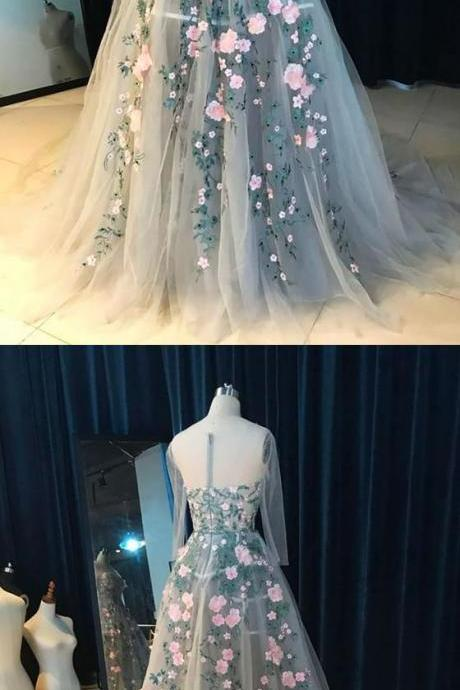 A-Line Round Neck Court Train Light Blue Tulle Prom Dress with Appliques, M0601