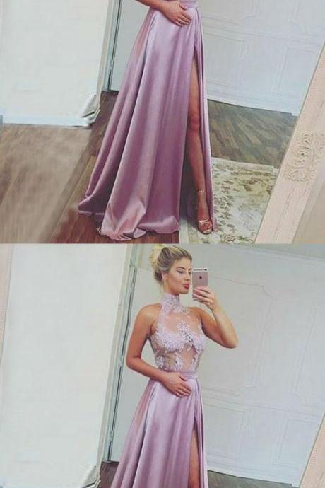 A-Line High Neck Sweep Train Split Front Lavender Stretch Satin Prom Dress with Lace, M0602