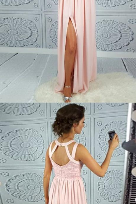 A-Line Round Neck Open Back Split-Front Pink Satin Prom Dress with Lace M0641