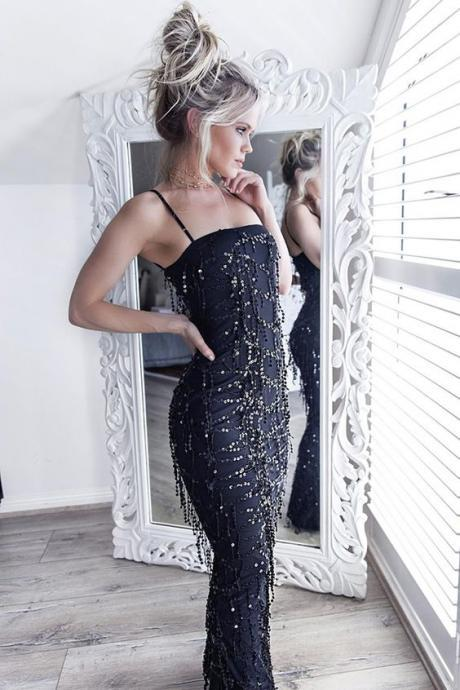 Mermaid Spaghetti Straps Floor-Length Dark Navy Stretch Satin Prom Dress with Tassels Beading M0644