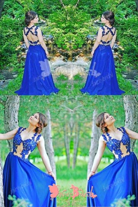 CHARMING ROYAL BLUE LACE SEXY OPEN BACK SLEEVELESS V-NECK LONG A-LINE PROM GOWN DRESSES. M0689