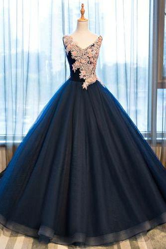 Charming Prom Dress,Tulle Prom Dress,Appliques Evening Dress,A-Line Prom Dress. M0690