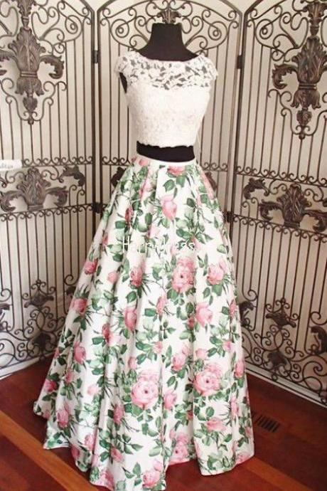 A LINE IVORY PINK PRINT BEADED LACE TWO PIECE LONG PROM DRESS. M0691