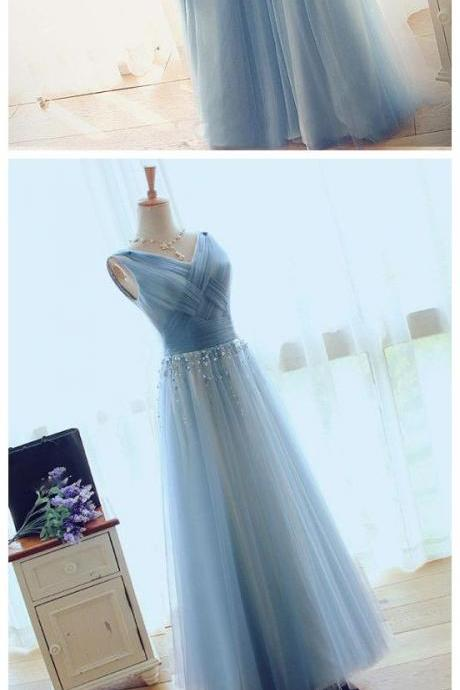2018 CHIC PROM DRESS A-LINE V-NECK BLUE TULLE CHEAP EVENING DRESS. M0692