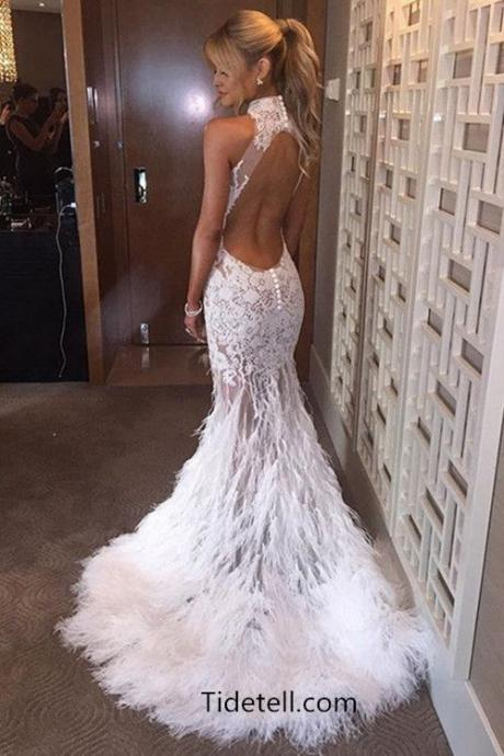 Sexy Mermaid High Neck Lace Sweep Train White Prom/Evening Dress With Feather, M0717