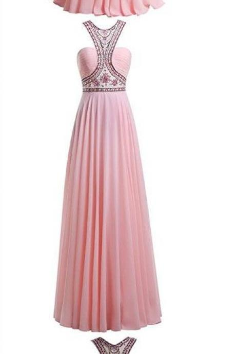 ALAGIRLS Round Neck Beading Prom Dress Long Chiffon Evening Gown M0739