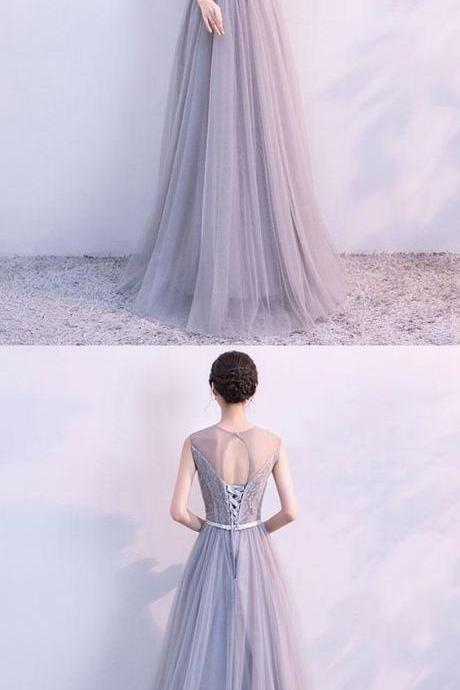 Gray A line tulle lace long prom dress, lace evening dress M0848