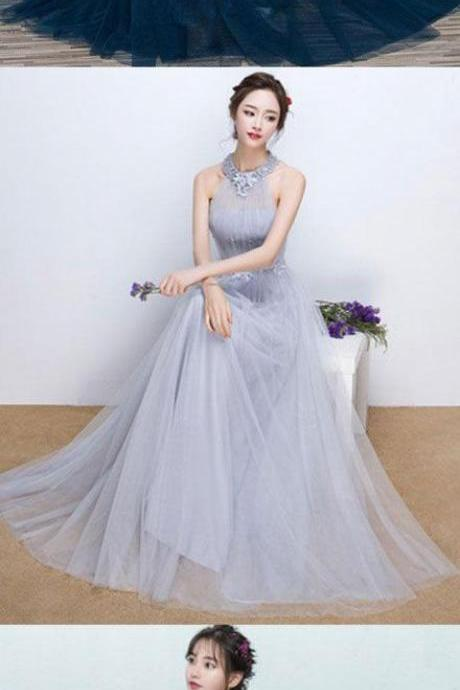 Simple blue tulle long prom dress, blue tulle bridesmaid dress M0850