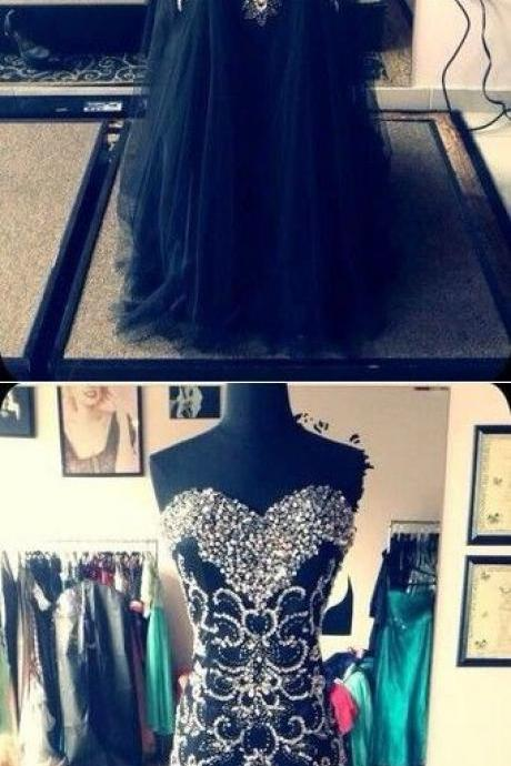 Black Prom Dresses Sheath Sweetheart Floor-length Rhinestone Long Prom Dress M0855