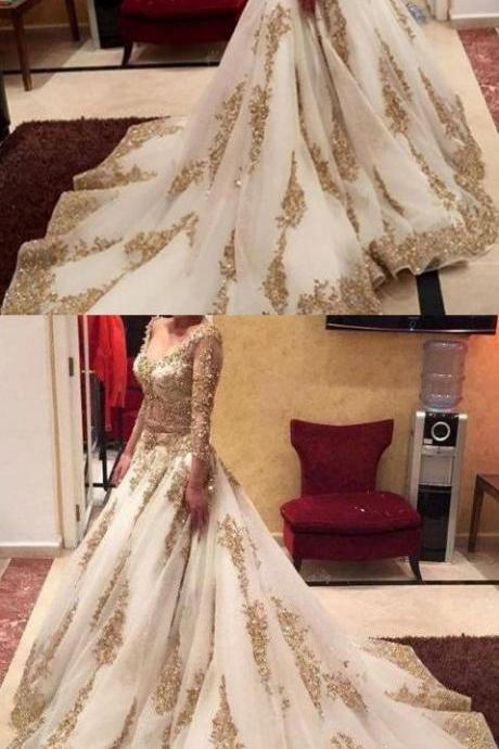 Two Piece Wedding Dresses Ball Gown V-neck Long Sleeve Sexy Bridal Gown M0865