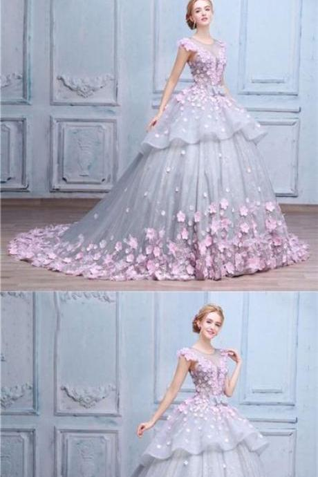 Luxury Prom Dresses Scoop Ball Gown Lace Hand-Made Flower Prom Dress/Evening Dress M0881