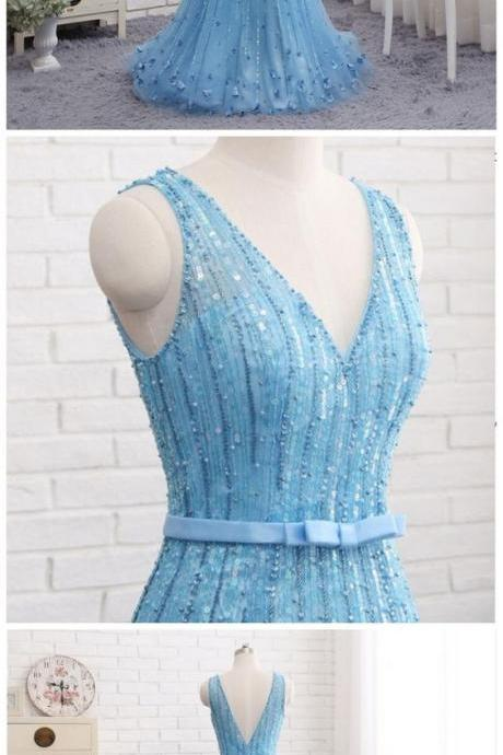 Sexy Low Back Blue V Neckline Heavily Beaded Luxuries Mermaid Evening Prom Dresses, Popular Unique Party Prom Dress, Custom Long Prom Dresses, Cheap Formal Prom Dresses M0916