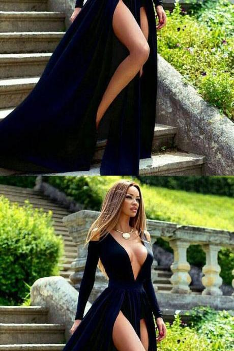 A-line V-neck Velvet Sweep Train Split Front Dark Navy Long Sleeve Sexy Prom Dresses M0951