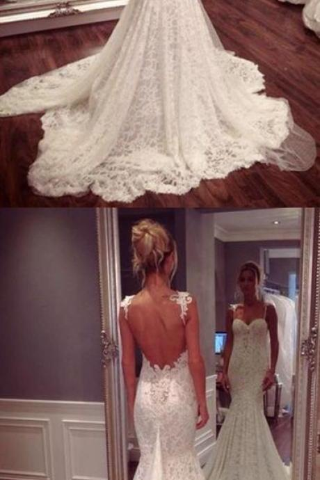 Mermaid Wedding Dress - Spaghetti Straps Court Train Lace Appliques Backless M1067