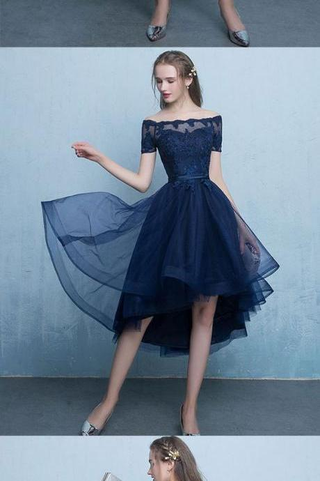 Dark blue lace tulle short prom dress, high low evening dress M1075