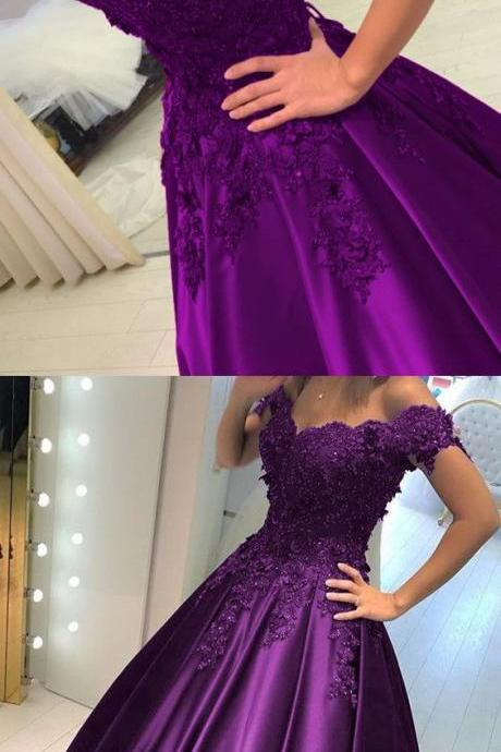 Grape Satin Ball Gowns Prom Dresses V-neck Off The Shoulder Quinceanera Dresses M1108