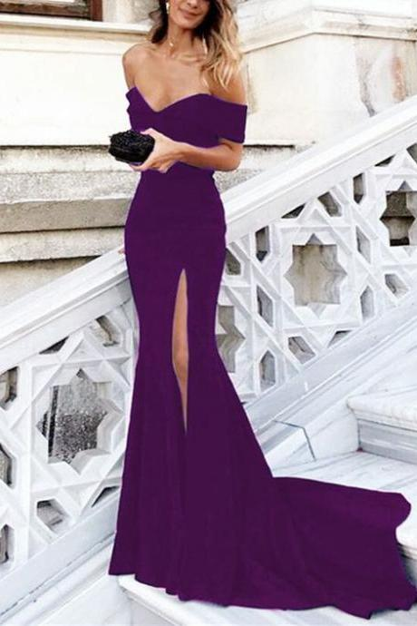 Sexy Leg Split V-neck Off Shoulder Long Mermaid Prom Dresses 2018 M1113