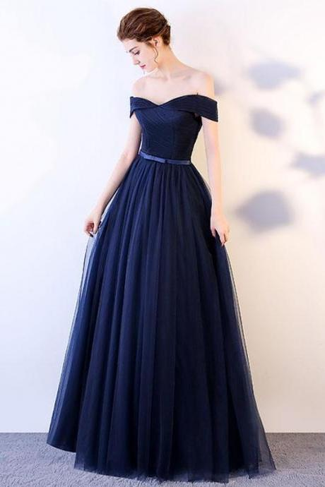 Dark blue long prom dress, blue tulle evening dress M1124