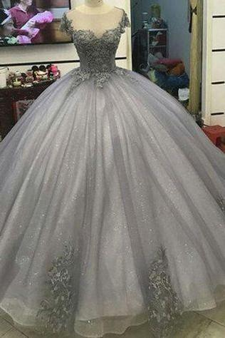 Glitter Grey Silver Ball Gown Princess Prom Dresses Lace Appliqued Victorian Formal gowns for masquerade Ball M1207