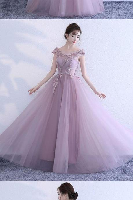 Pink lace tulle long prom dress, pink evening dress M1224