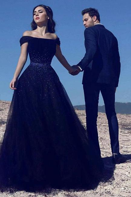 High Fashion A-Line Off-Shoulder Navy Blue Tulle Long Prom/Evening Dress M1229