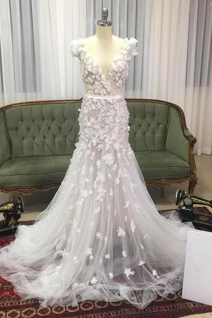Unique Mermaid Cap Sleeves V-Neck White Tulle Long Prom/Wedding Dress with Appliques M1240