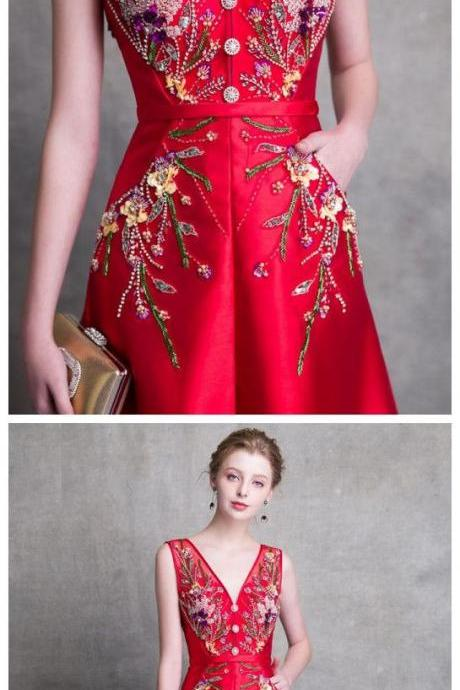 2018 RED PROM DRESSES A-LINE LONG V NECK SATIN BEADING PROM DRESS EVENING DRESSES M1255