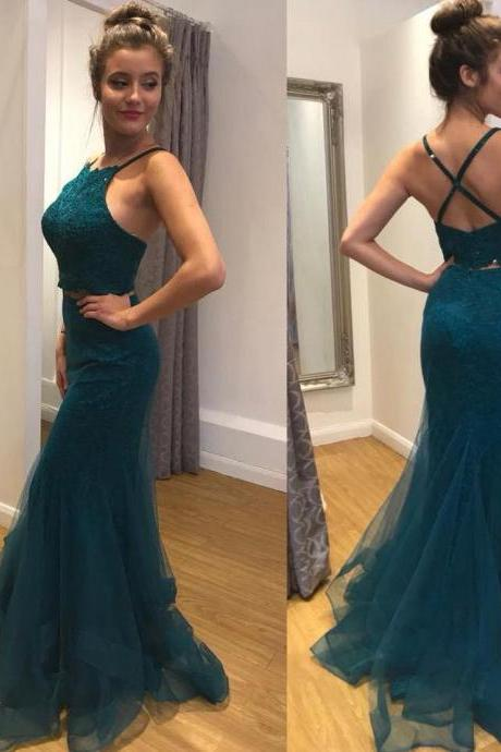 Two Piece Mermaid Prom Dresses Halter Floor-length Lace Long Sexy Prom Dress M1299