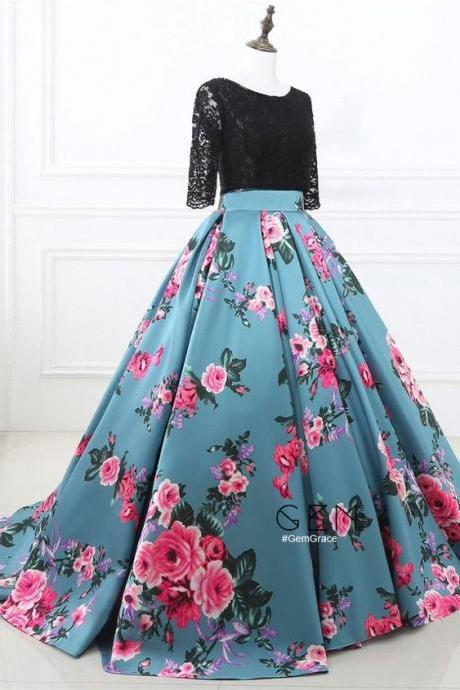 Prom Dresses Two Piece Black Lace and Floral Prom Dress Half Sleeves M1342